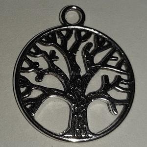 Életfa medál, Gyöngy, ékszerkellék, Ékszerkészítés, Életfa medál  Ezüst színű életfa  medál. Átmérője: 2cm Ár/db , Alkotók boltja