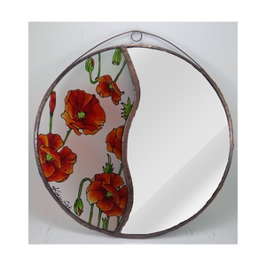 Pipacsos tükör - Tükör, Üvegkép, Otthon & Lakás, Dekoráció, Tükör, Festett tárgyak, Üvegművészet, Meska