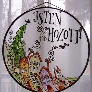 Részeg házak - nagy méretű - Üveg, Üvegkép, Otthon & Lakás, Dekoráció, Falra akasztható dekor, Üvegművészet, Festett tárgyak, Meska