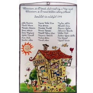 Ballagási emléktábla tanító néninek, Dekoráció, Otthon, lakberendezés, Ballagás, Kép, Festett tárgyak, Üvegművészet, 30 x 45 cm-es savmart üvegre festett kép. Rézdróttal körbeforrasztott és antikolt kerettel. Navrati..., Meska