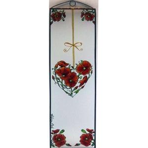 Szíves pipacs - Üveg, Üvegkép - otthon & lakás - dekoráció - falra akasztható dekor - Meska.hu