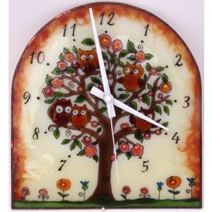 Baglyos falióra - üvegre festett óra, Otthon & Lakás, Dekoráció, Falióra & óra, Üvegművészet, Festett tárgyak, Meska