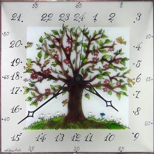 Életfa falióra - 24 órás óra - üvegre festett óra, Otthon & lakás, Dekoráció, Esküvő, Lakberendezés, Falióra, óra, Üvegművészet, Festett tárgyak, 3 mm vastag, 33 x 33 cm savmart üvegre festett, egyedi grafikájú falióra. \n\nKedves mintája különlege..., Meska