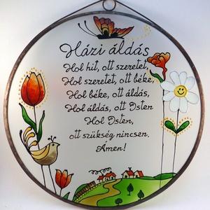 Tulipános Házi áldás - Üveg, Üvegkép, Otthon & Lakás, Dekoráció, Kép & Falikép, Festett tárgyak, Üvegművészet, Meska
