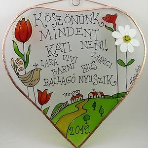 Köszönök mindent!  - tulipános - Üveg, Üvegkép, Otthon & Lakás, Dekoráció, Ablakdísz, Üvegművészet, Festett tárgyak, Üvegre festett, rézfóliával keretezett kép. \nNavratil Zsuzsa grafikája adta hozzá az ihletet.\n\nCsak ..., Meska