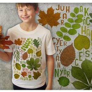 őszi faleveles, Póló, Babaruha & Gyerekruha, Ruha & Divat, Mindenmás, FALEVELES GYEREK PÓLÓ! Szenvedélyes falevél csodálóknak, falevél gyűjtögetőknek, falevél vizsgálgató..., Meska