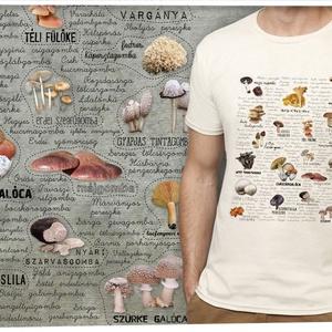 ehető gombák Magyarországon, Póló, felső, Női ruha, Ruha & Divat, Mindenmás, Méretet megjegyzésben lehet rendeléskor választani. \n\nA póló 100% pamut, homok vagy fehér színű, Gil..., Meska