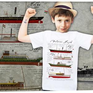 balatoni hajók II. gyerek pólón, Gyerek & játék, Táska, Divat & Szépség, Gyerekruha, Ruha, divat, Mindenmás, A póló 100% pamut, méretei:\n\n1-2: SZ: 29cm M: 37cm\n3-4: SZ: 33cm M: 41cm\n5-6: SZ: 36cm M: 46cm\n7-8: ..., Meska