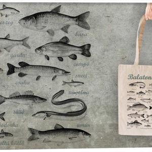 Balatoni halak  textiltáskán, Táska, Táska, Divat & Szépség, Válltáska, oldaltáska, Tarisznya, Szatyor, Mindenmás, Horgászoknak és halrajóngóknak ajánljuk\n\n100% pamut textiltáska, natúr színű, közepesen hosszú fülle..., Meska