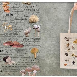 Ehető gombák  textiltáskán, Shopper, textiltáska, szatyor, Bevásárlás & Shopper táska, Táska & Tok, Mindenmás, Ehető magyarországi gombák textiltáskán képpel vagy névvel.\n\n100% pamut textiltáska, natúr színű, kö..., Meska