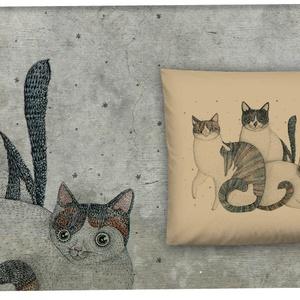 Három cica párnahuzaton, Párna & Párnahuzat, Lakástextil, Otthon & Lakás, Mindenmás, A grafika Nora Dovidonyte legújabb munkája\nMogyorószín díszpárnahuzat rejtett zippzárral 40 x 40 cm ..., Meska