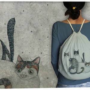 Három cica hátizsákon, Táska, Divat & Szépség, Táska, Hátizsák, A termék a meghívott grafikusok sorozat része. Ebben  az esetben a grafikus egy litván lány, Norvile..., Meska