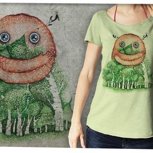 """Erdővédő púderzöld színű lezser női pólón, Táska, Divat & Szépség, Női ruha, Ruha, divat, Póló, felsőrész, Képzőművészet, Otthon & lakás, Festészet, Mindenmás, Ez a póló \""""Meghívott grafikusok\"""" sorozatunk része, azaz a grafikát nem mi, hanem egy vendég készítet..., Meska"""