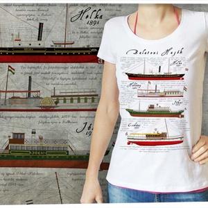 Balatoni hajók női Stars pólón, Póló, felső, Női ruha, Ruha & Divat, Mindenmás, Ezt a grafikát a Balaton és a balatoni hajók előtt tisztelegve készítettük, a hajókat gondos részlet..., Meska