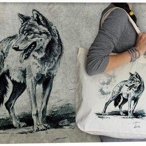 Farkas  válltáskán, Táska, Divat & Szépség, Táska, Válltáska, oldaltáska,   100% pamut válltáska, natúr színű, közepesen hosszú füllel, vállon és kézben egyaránt hordható. Er..., Meska