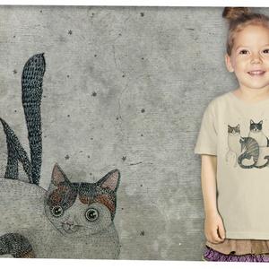 3 cica, Gyerek & játék, Táska, Divat & Szépség, Gyerekruha, Ruha, divat, Mindenmás, A grafika Nora Dovidonytė litván grafikus munkája.\n\nMéretet megjegyzésben lehet rendeléskor választa..., Meska