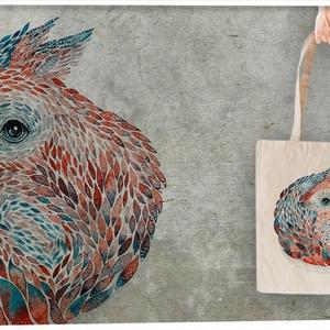 Mókus textiltáskán, Táska, Divat & Szépség, Táska, Szatyor, Mindenmás, Meghívott grafikusunk Nora munkája. A mókusokról Walt Disney munkássága vagy Misi mókus jut az eszün..., Meska