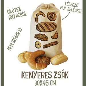 Kenyeres zsák, Otthon & lakás, Konyhafelszerelés, Kenyértartó, NoWaste, Bevásárló zsákok, zacskók , Varrás, Mindenmás, A kenyereszsák ökotex minősítésű 100% pamutvászon anyagbólanyagból készült. Bélése  élemiszerbiztons..., Meska