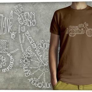 Motor kalligráfia (MZ 250), Póló, Férfi ruha, Ruha & Divat, Mindenmás, Motor rajza a részek elnevezéseiből felépítve (MZ 250 típus)\n\nA kívánt pólószínt a legördülő menüből..., Meska