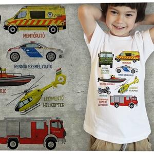 Mentő járművek, Táska, Divat & Szépség, Ruha, divat, Gyerek & játék, Gyerekruha, Mindenmás, Magyar mentőjárművek tárháza gyerekpólón\n\n-kérésre bármelyik járművet egyenként is kinyomtatjuk \n-eg..., Meska