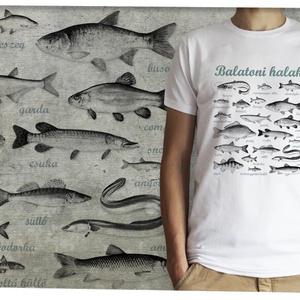Balatoni halak fehér pólón, Ruha & Divat, Férfi ruha, Póló, A kívánt méretet rendeléskor a megjegyzésbe tudod beírni, minden méret van készleten.  A póló 100% p..., Meska