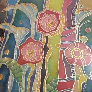 Mesevirágok - selyemkép, Otthon & Lakás, Dekoráció, Kép & Falikép, Selyemfestés, Szeretetvirágok\n\nSelyemfestéssel készítettem ezt a képemet.\nIsmét növények és virágok! Hullámok, von..., Meska