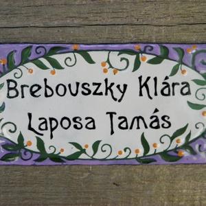 Egyedi tűzzománc névtábla - növényi indás/ovális  (InnocentDesign) - Meska.hu