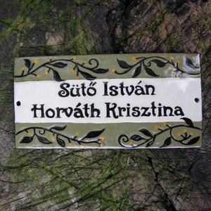 Egyedi tűzzománc névtábla - elegáns/növényi indás  (InnocentDesign) - Meska.hu