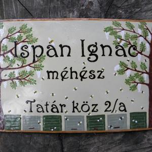 Egyedi tűzzománc cégér/utcatábla- méhészeknek (InnocentDesign) - Meska.hu
