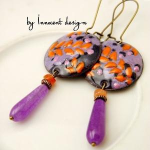 Mona -  tűzzománc fülbevaló (lila-narancs) (InnocentDesign) - Meska.hu