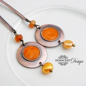Minimál - narancssárga fülbevaló - tűzománc-réz (InnocentDesign) - Meska.hu