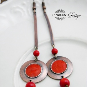 Minimál - piros fülbevaló - tűzománc-réz (InnocentDesign) - Meska.hu