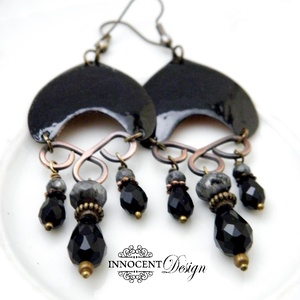 Habilán - tűzzománc fülbevaló  (fekete) (InnocentDesign) - Meska.hu