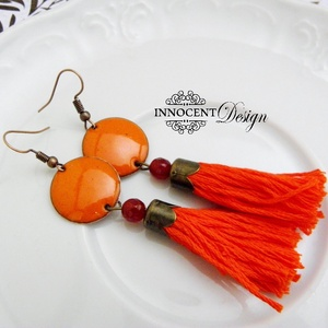 colorBlocking - bojtos tűzzománc fülbevaló (narancs) (InnocentDesign) - Meska.hu