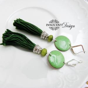 colorBlocking - bojtos tűzzománc fülbevaló (zöld) (InnocentDesign) - Meska.hu