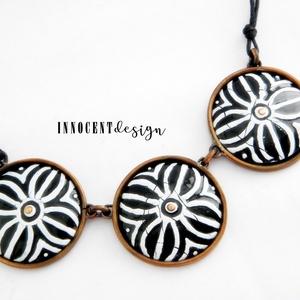 Nomád- tűzzománc nyaklánc (fekete-fehér) (InnocentDesign) - Meska.hu