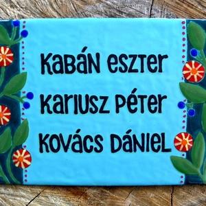 Egyedi tűzzománc névtábla - oldalt virágos (InnocentDesign) - Meska.hu