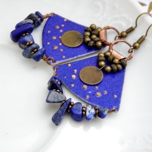 Természetasszony -  tűzzománc fülbevaló (kék) (InnocentDesign) - Meska.hu