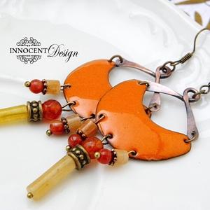 Karola - tűzzománc fülbevaló  (narancssárga) (InnocentDesign) - Meska.hu