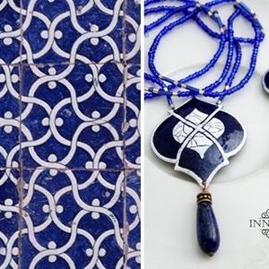 Marokkó - tűzzománc nyaklánc (királykék) (InnocentDesign) - Meska.hu