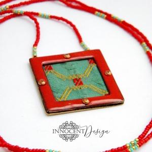 Nomad - tűzzománc nyaklánc (piros) (InnocentDesign) - Meska.hu