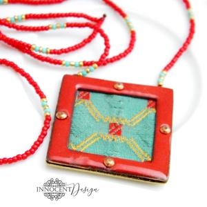 Nomad - tűzzománc nyaklánc (piros), Ékszer, Nyaklánc, A NOMAD kollekció minden darabját a természet gazdagsága ihlette, természetes színek, selymes, fénye..., Meska