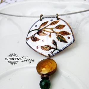 Bambusz - tűzzománc nyaklánc (InnocentDesign) - Meska.hu
