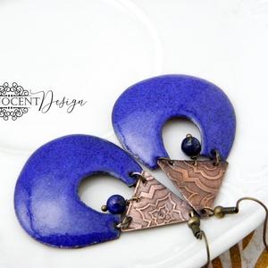 Kadarta -  tűzzománc fülbevaló (királykék) (InnocentDesign) - Meska.hu