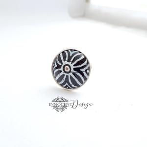 Nomad - tűzzománc gyűrű (fekete-fehér), Ékszer, Gyűrű, A NOMAD kollekció minden darabját a természet gazdagsága ihlette, természetes színek, selymes, fénye..., Meska