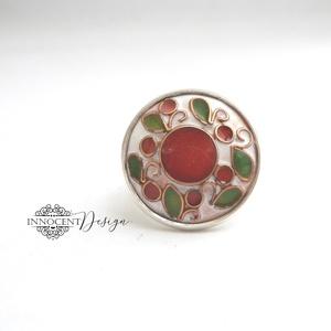 Cseresznyevirágzás - tűzzománc gyűrű  (rózsaszín-zöld-fehér), Esküvő, Ékszer, Gyűrű, Ékszerkészítés, Tűzzománc, Rekeszzománcolt, könnyű, mutatós tűzzománc gyűrű.\nKézzel kivágott, domborított rézlemezalapra készül..., Meska