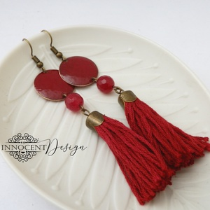 colorBlocking - bojtos tűzzománc fülbevaló (piros) (InnocentDesign) - Meska.hu