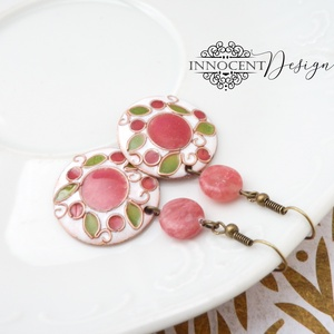 Cseresznyevirágzás - tűzzománc fülbevaló  (rózsaszín-zöld-fehér) (InnocentDesign) - Meska.hu