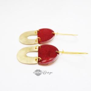 Minimalist -  tűzzománc fülbevaló (bordó-arany) (InnocentDesign) - Meska.hu