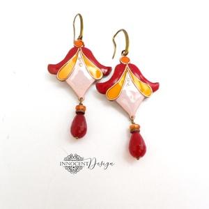LILITH-  tűzzománc fülbevaló (bordó-narancs-rózsaszín) (InnocentDesign) - Meska.hu